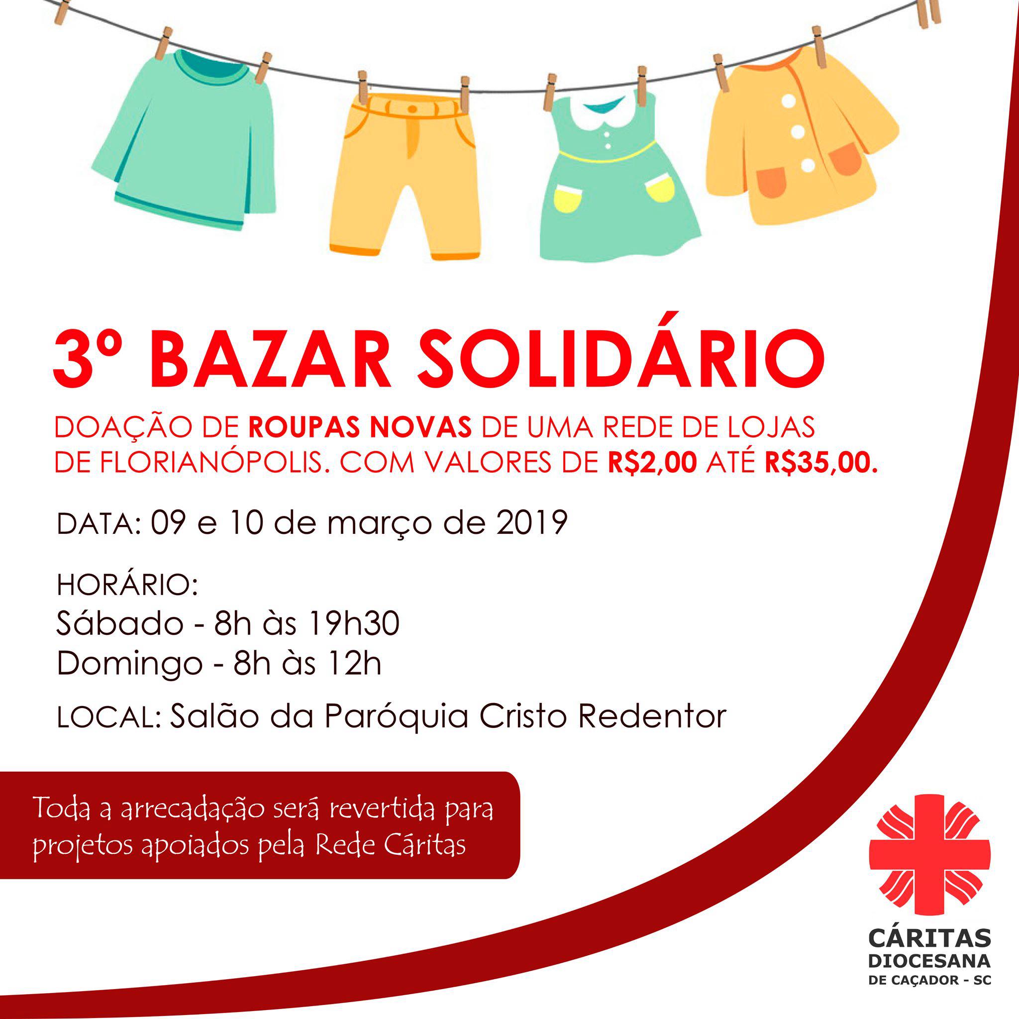 847d31b16 Roupas novas  Cáritas de Caçador realiza 3º Bazar Solidário dias 9 e ...